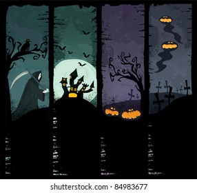 Set of four grunge Halloween banners. Standard size. Grim reaper, haunted castle, spooky pumpkins and scary ghosts on the graveyard. Everything you need for your Halloween party.