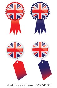 A set of four icons with glass effect buttons using the union jack flag. Ideal for web or print use.