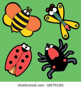 Set of four isolated insects on the green background. Cute bee, lady bug, dragonfly and spider. Cartoon character insects design. Set of popular insects for prints, stickers, child or baby book, etc