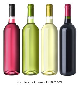 A set of four kinds of wine