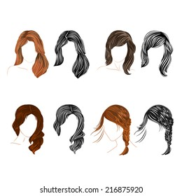 Set of four long  hair natural and silhouette attractive there is also a format eps