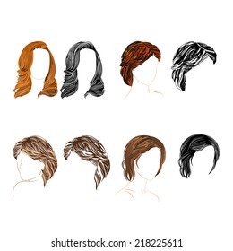 Set of four long  hair natural and silhouette  there is also a format eps