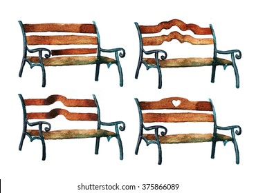 Set of four park bench. Watercolor painting.