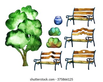 Set of  four park benches, tree, bushes and urn. Watercolor painting.