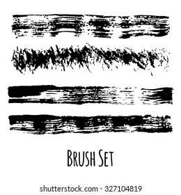Set of four traced grunge contrasting brushes
