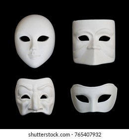 Set of four white venetian carnival masks on black backgound, set 1