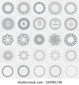 Set Fractal And Swirl Shape Element Vintage Monochrome Different Objects Raster Decorative Sample