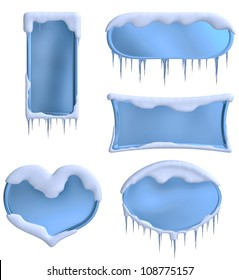 set of frames decorated with icicles and clouds as a symbol of winter holidays