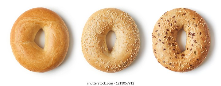 Set of fresh bagels isolated on white background, top view
