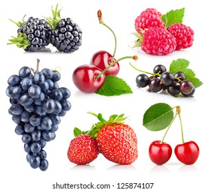 set of fresh berry with green leaf isolated on white background