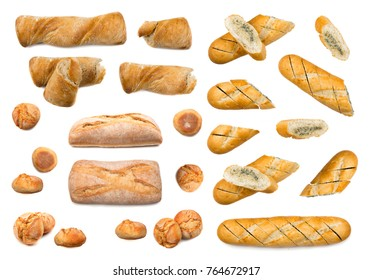 Set of fresh bread loafs Isolated on white background. Top view food photography