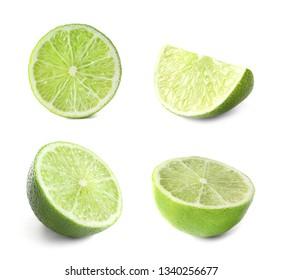 Set of fresh cut ripe citrus fruit on white background