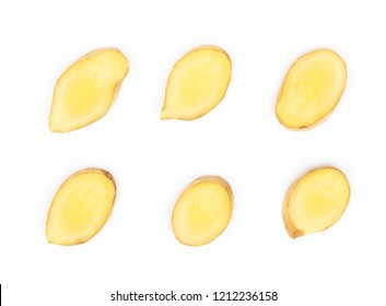 Set of fresh ginger root  sliced on white background for herb and medical product concept