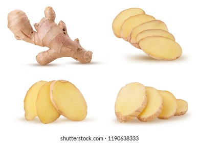 Set fresh ginger whole and slice isolated on white background. Clipping Path. Full depth of field.