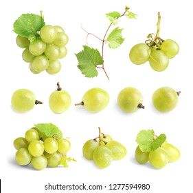 Set with fresh grapes on white background