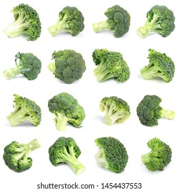 Set of fresh green broccoli on white background
