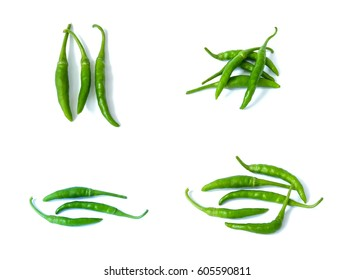 Set of fresh green chilly peppers isolated, white background