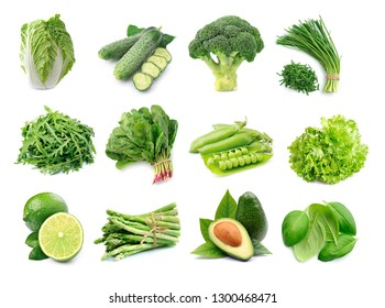 Set of fresh green vegetables isolated on white backgrounds.