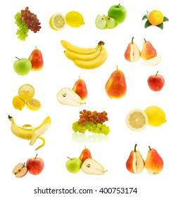 Set of the fresh juicy fruit isolated on a white background.