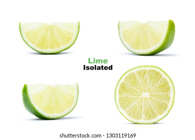 Set of fresh juicy half and slices lime isolated on white background. Citrus and tropical fruits