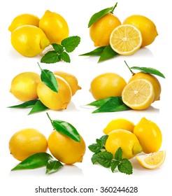 Set fresh lemon with green leaf mint. Isolated on white background