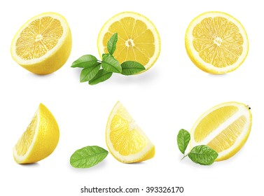 Set of  fresh lemons with leaves, isolated on white