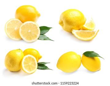 Set with fresh lemons on white background