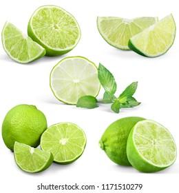 Set of fresh limes isolated on white background
