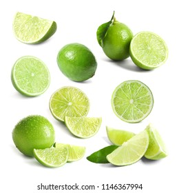 Set with fresh limes on white background