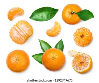 set of fresh mandarin with leaf isolated on white