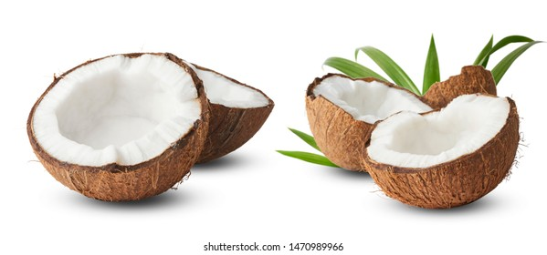 Set with Fresh raw coconut with palm leaves isolated on white background. High resolution image