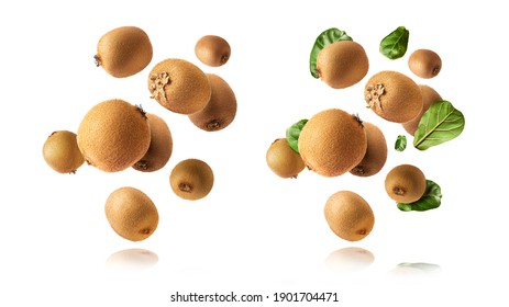 A set with Fresh raw kiwi with leaves falling in the air isolated on white background. Food levitation concept. High resolution image