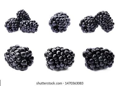 Set of fresh ripe blackberries on white background