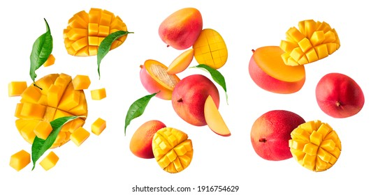 A set with Fresh ripe mango with leaves falling in the air isolated on white background. Food levitation concept. High resolution image