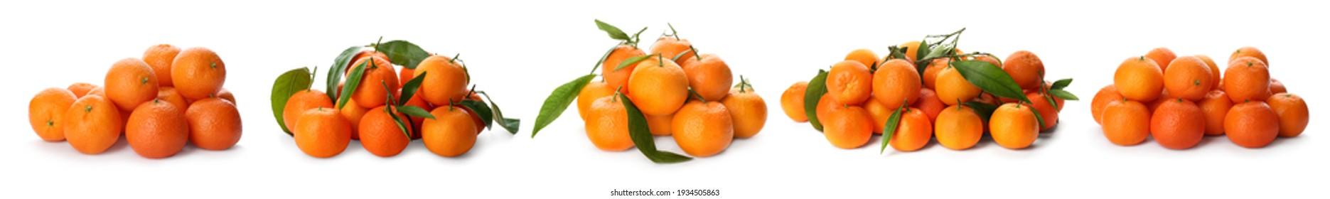Set with fresh ripe tangerines on white background. Banner design