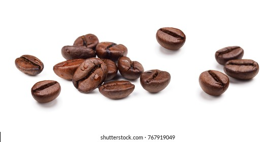 Set of fresh roasted coffee beans isolated on white background.