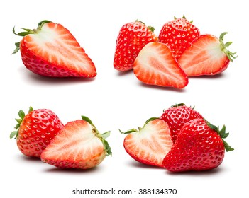 A set of fresh strawberry isolated on white background.