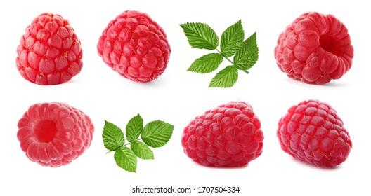 Set of fresh sweet raspberries and green leaves on white background. Banner design