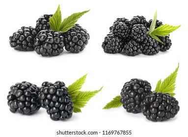 Set with fresh tasty blackberries and green leaves on white background