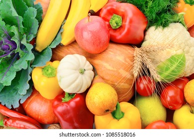 A set of fresh vegetables and fruits. Bright beautiful background. Healthy food.