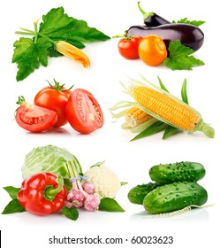 set fresh vegetables with green leaves isolated on white background