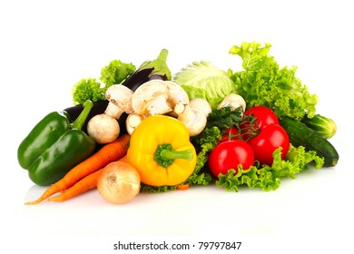 A set of fresh vegetables isolated on white