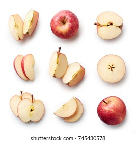 Set of fresh whole and cut apple and slices isolated on white background. From top view