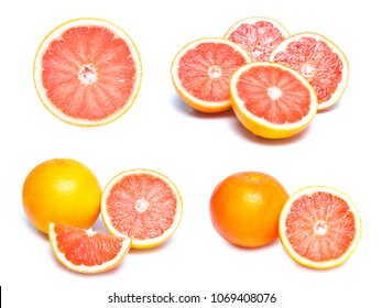 Set of fresh whole and cut grapefruit and slices isolated on white background ,Slice of red grapefruit isolated on white background