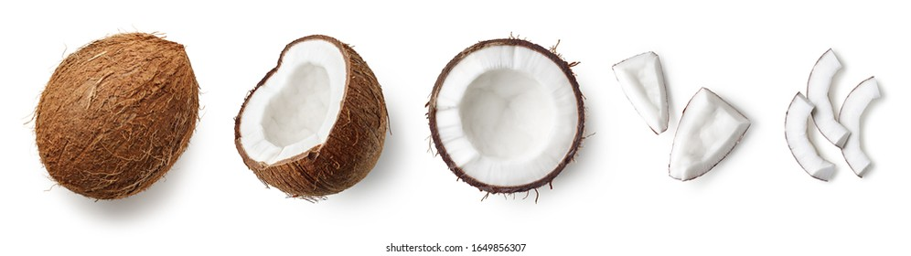 Set of fresh whole and half coconut and slices isolated on white background, top view