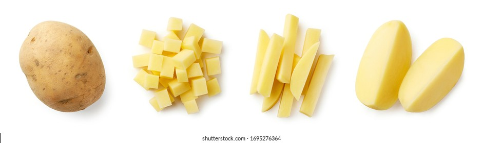 Set of fresh whole and sliced potatoes isolated on white background. Top view