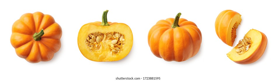 Set of fresh whole and sliced pumpkin isolated on white background. Top view - Shutterstock ID 1723881595