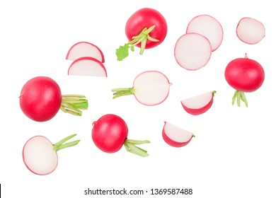 Set of fresh whole and sliced radish isolated on white background. Top view