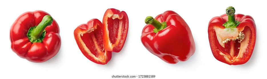 Set of fresh whole and sliced red sweet pepper isolated on white background. Top view