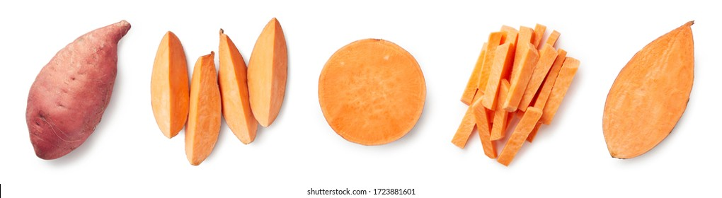 Set of fresh whole and sliced sweet potatoes isolated on white background. Top view - Shutterstock ID 1723881601